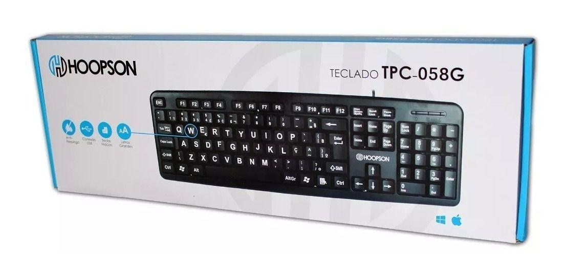 TECLADO PARA COMPUTADOR HOOPSON USB LETRAS GRANDES TPC-058G