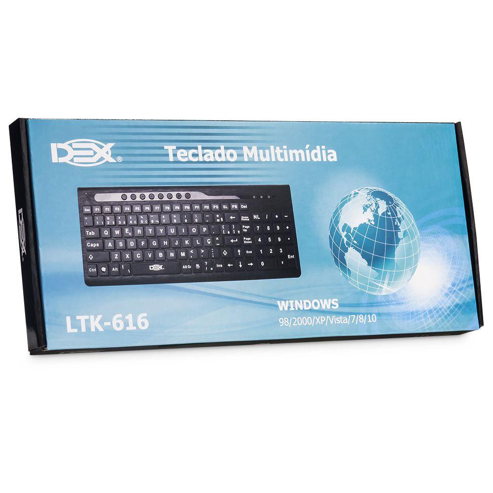 TECLADO USB SLIM LETRAS GRANDES DIFICULDADE VISUAL (LTK-616)