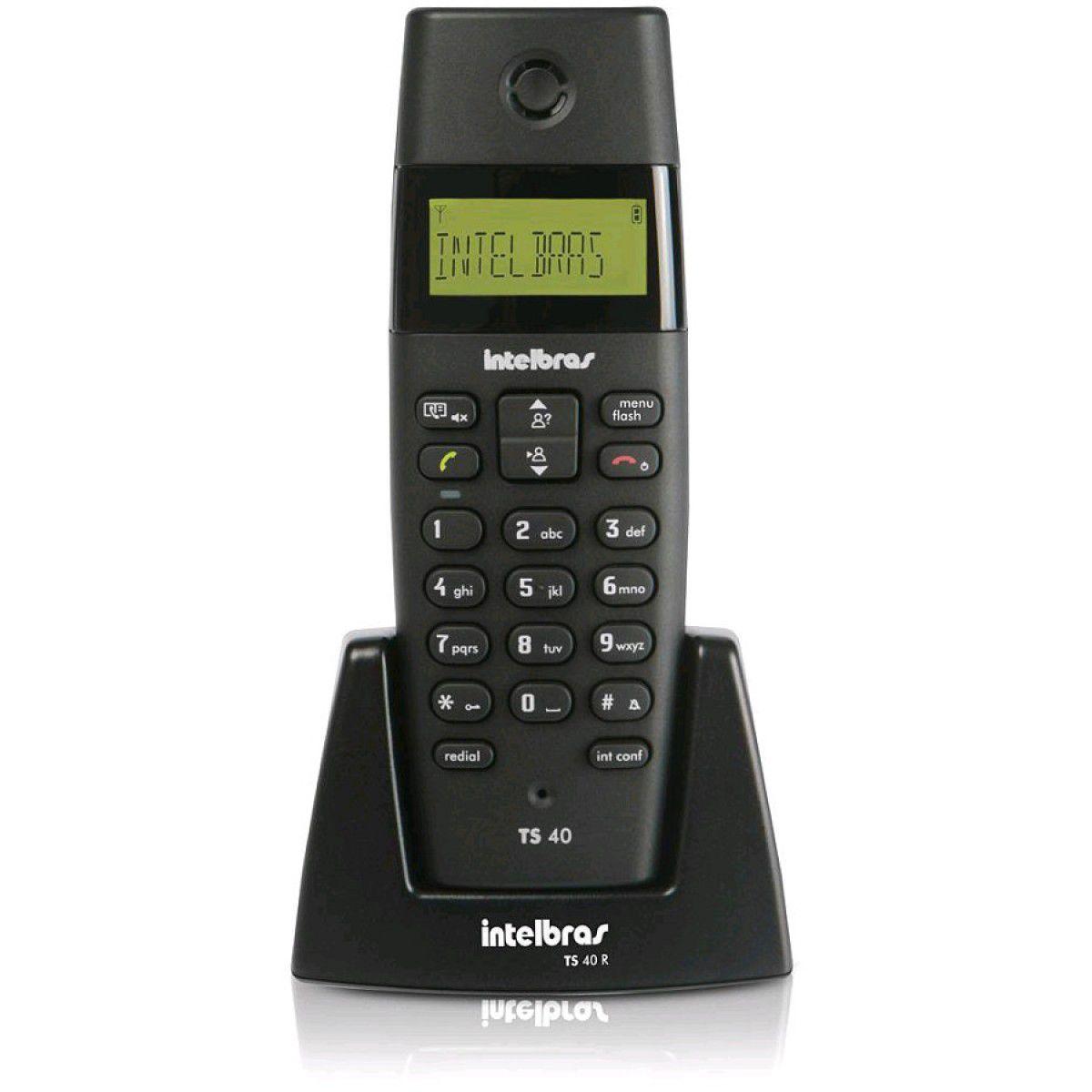 TELEFONE S/ FIO TS40R RAMAL INTELBRAS PRETO