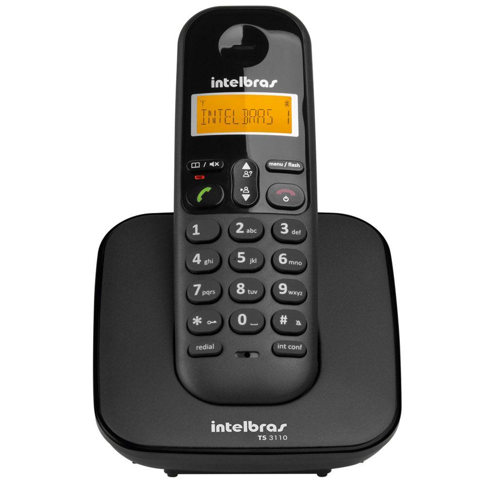Telefone sem Fio Intelbras TS 3110 com Display luminoso, Identificador de Chamada e Tecnologia DECT 6.0 - Preto