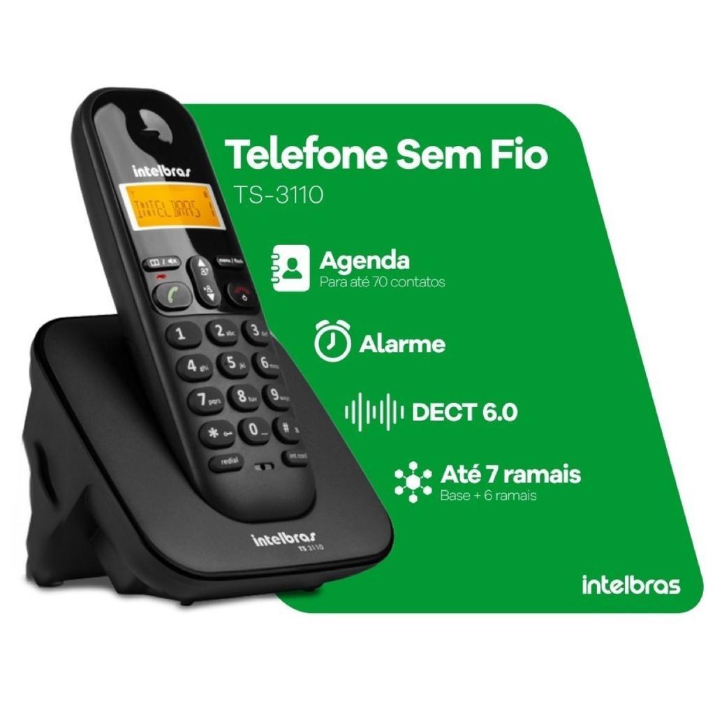 TELEFONE SEM FIO INTELBRAS TS 3110  IDENTIFICADOR DISPLAY LUMINOSO PRETO