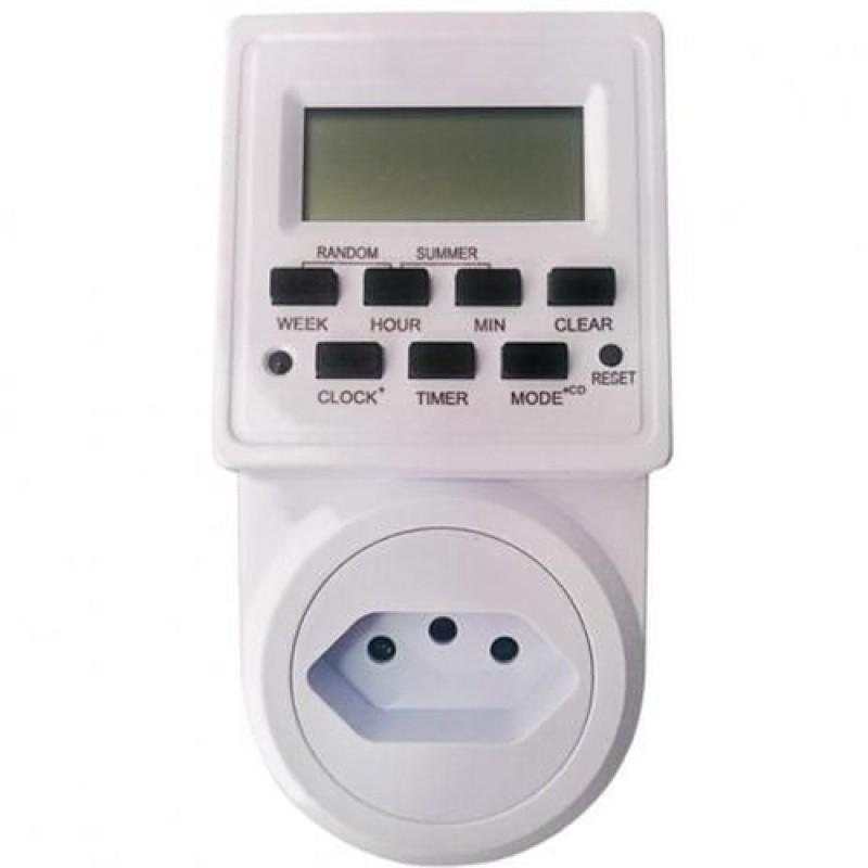 TIMER TEMPORIZADOR DIGITAL BIVOLT AUTOMATICO 110/227V VISOR LCD 20 PROGRAMACOES 10A 2200W KP-ES02 KNUP