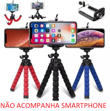 Tripé 15CM Flexível Com Suporte Para Celular Smartphone