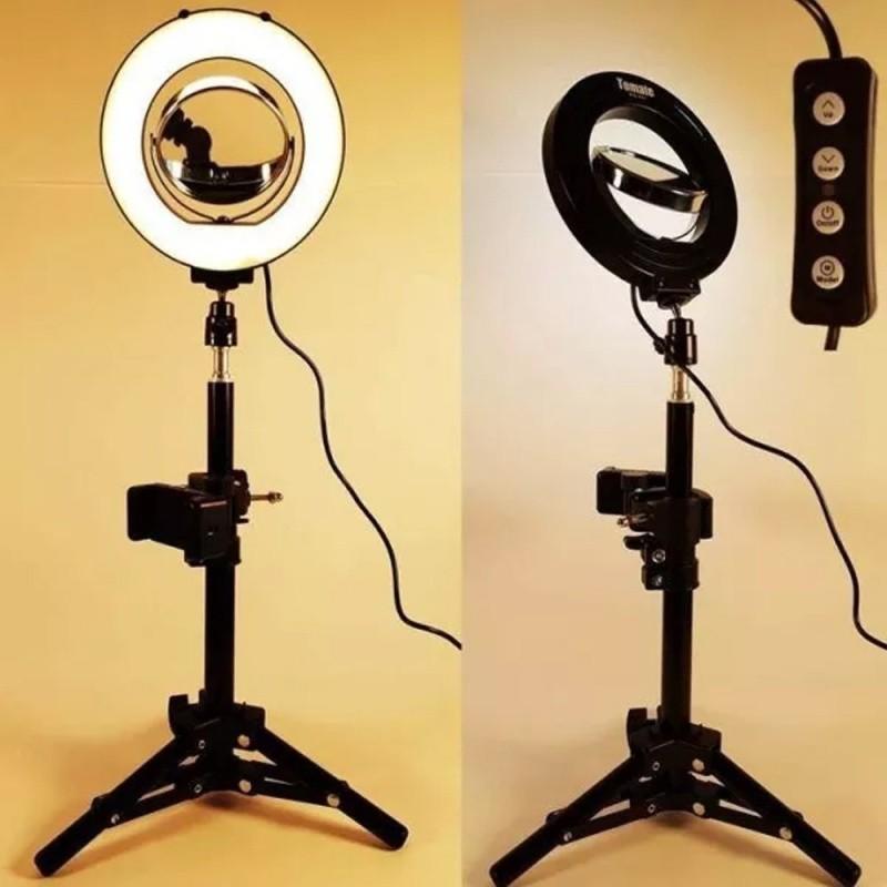 Tripé Ring Light Iluminação Led com Espelho Gravar Video Celular MLG-0664
