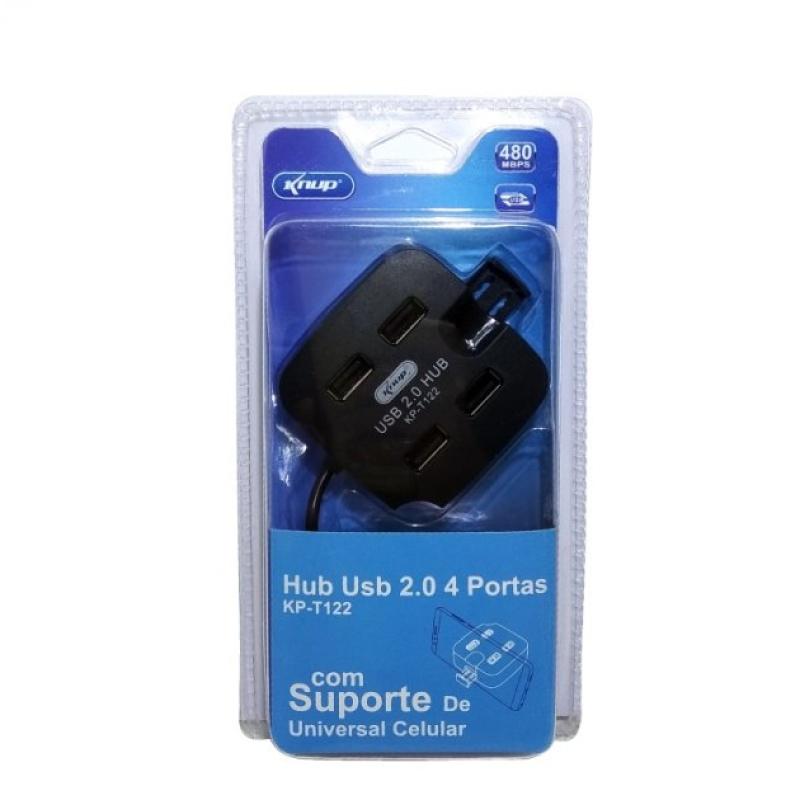USB HUB 4 PORTAS 2.0 KP-T122 com Suporte de Celular Knup
