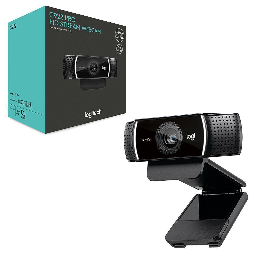 Webcam Câmera C922 1080p 60fps Tripé Streamer Microfone ideal para Lives