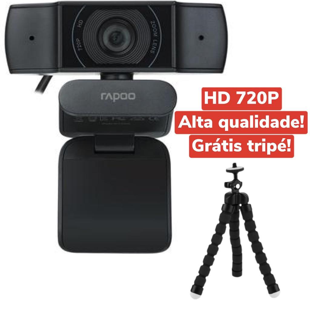 WEBCAM RAPOO HD 720p  C200 ROTAÇÃO 360 USB ENTRADA TRIPÉ COM MICROFONE ALTA QUALIDADE GRÁTIS TRIPÉ