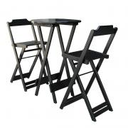 Jogos De Mesa Bistrô Em Madeira com 2 Cadeiras