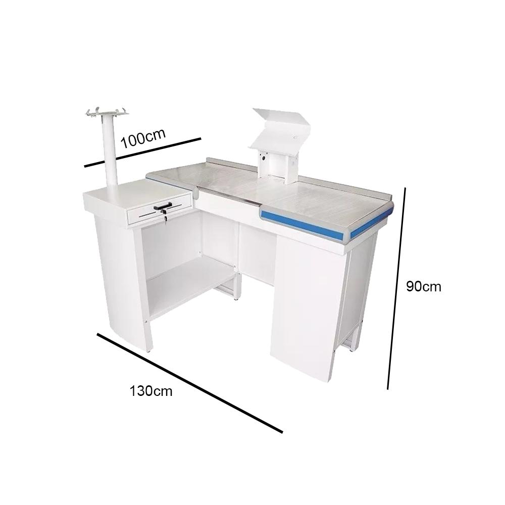 Check Out 1,30 Bilateral Branco- Caixa de Supermercado  - EKENOX- Equipamentos Industriais