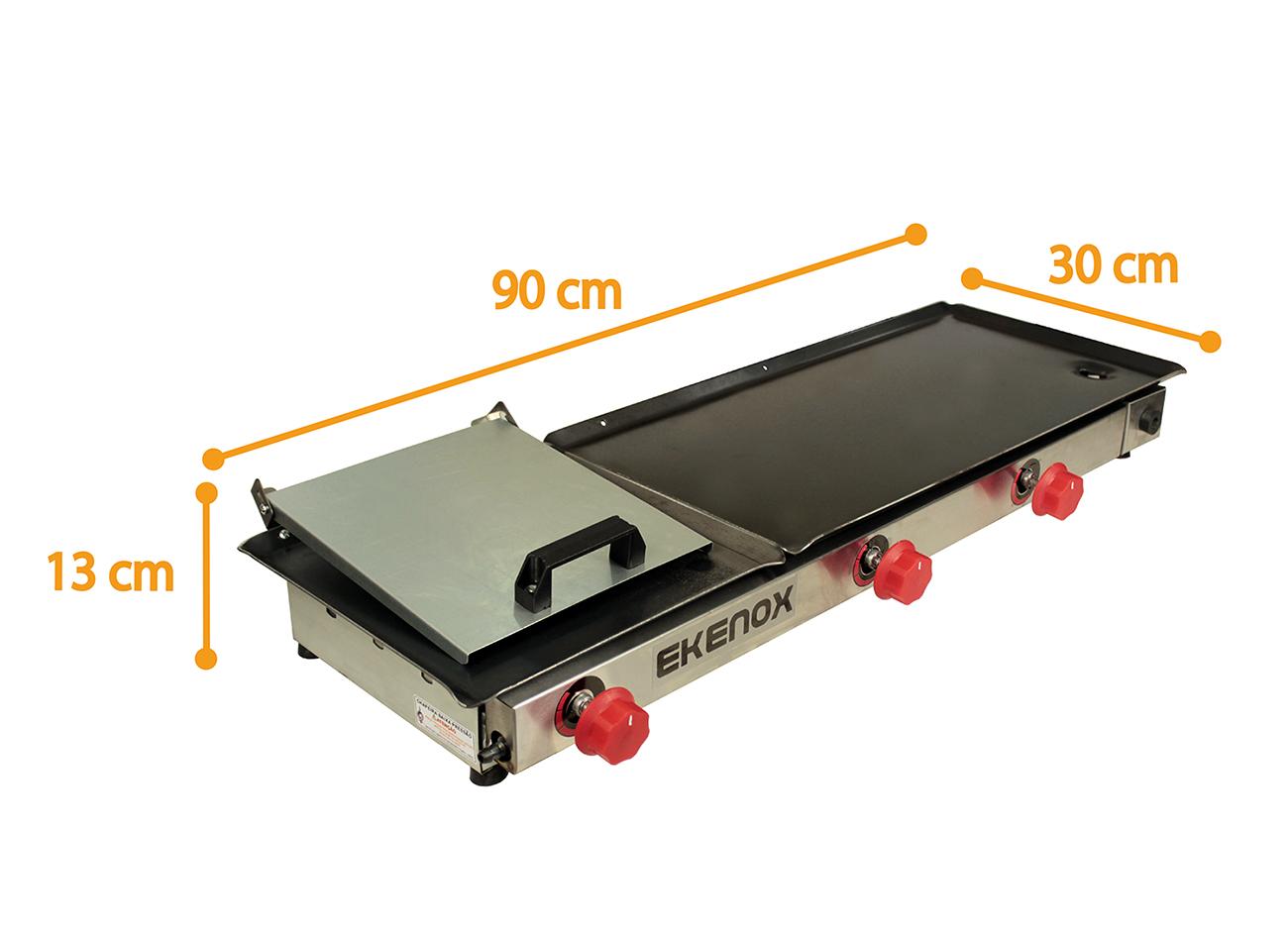 CHAPA P/ LANCHE 90x30CM 3Q C/ PRENSA CHEFE ROJO  - EKENOX- Equipamentos Industriais