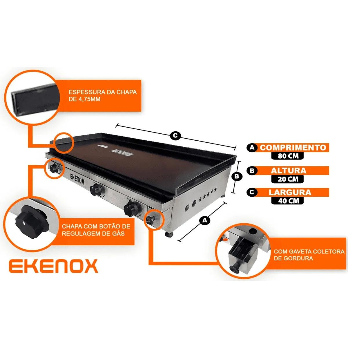 CHAPA P/ LANCHE 80x40CM 3Q EKENOX  - EKENOX- Equipamentos Industriais
