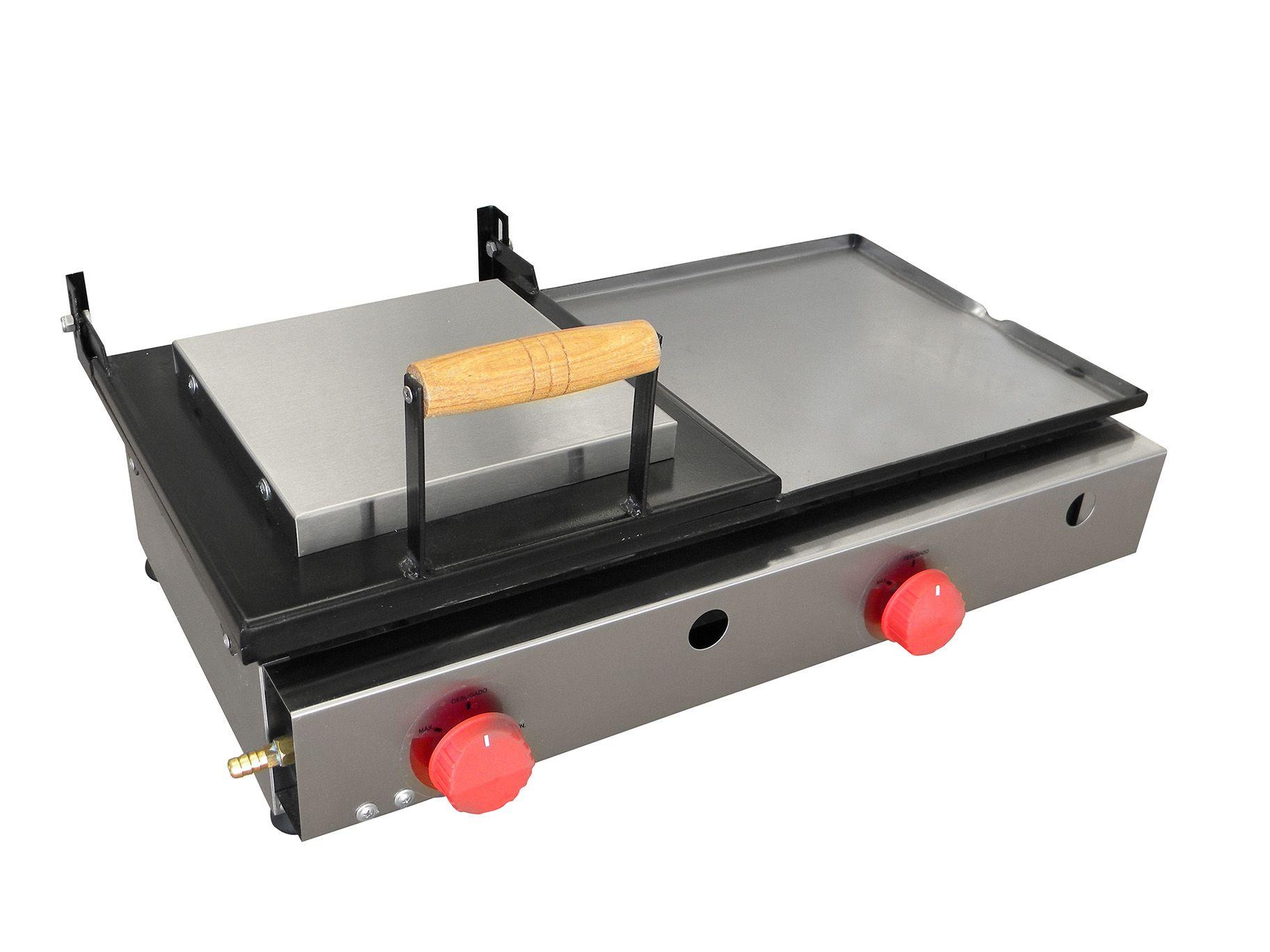 Chapa para Lanches a Gas 2 Queimadores 60x30 Com Prensa