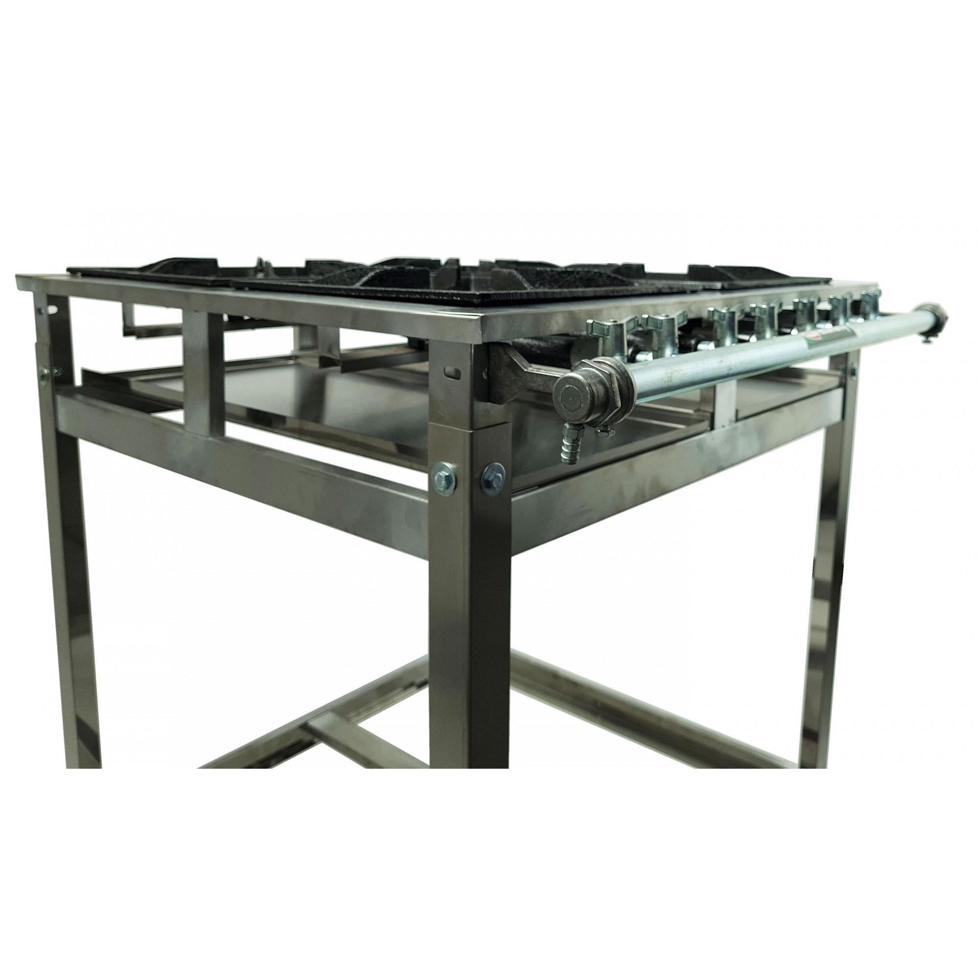 FOGAO INOX 4 BOCAS 30X30CM  - EKENOX- Equipamentos Industriais