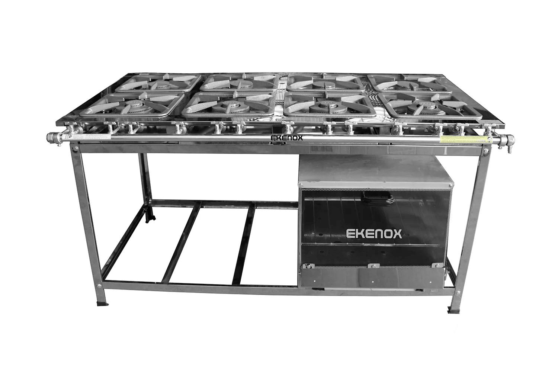 Fogão Industrial 8 Bocas Inox Aço 430 - 30x30 C/ Forno  - EKENOX- Equipamentos Industriais