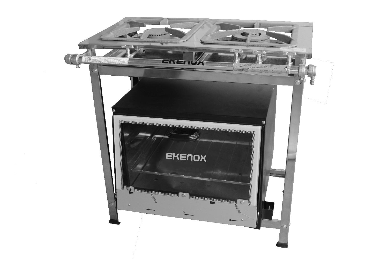 Fogão Inox 2 Bocas C/ Forno 430  - EKENOX- Equipamentos Industriais