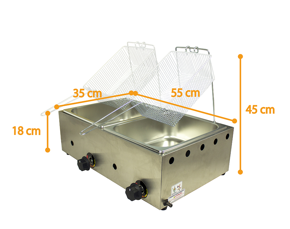 Fritadeira Inox 2 Cubas 9,6 Litros A Gás  - EKENOX- Equipamentos Industriais