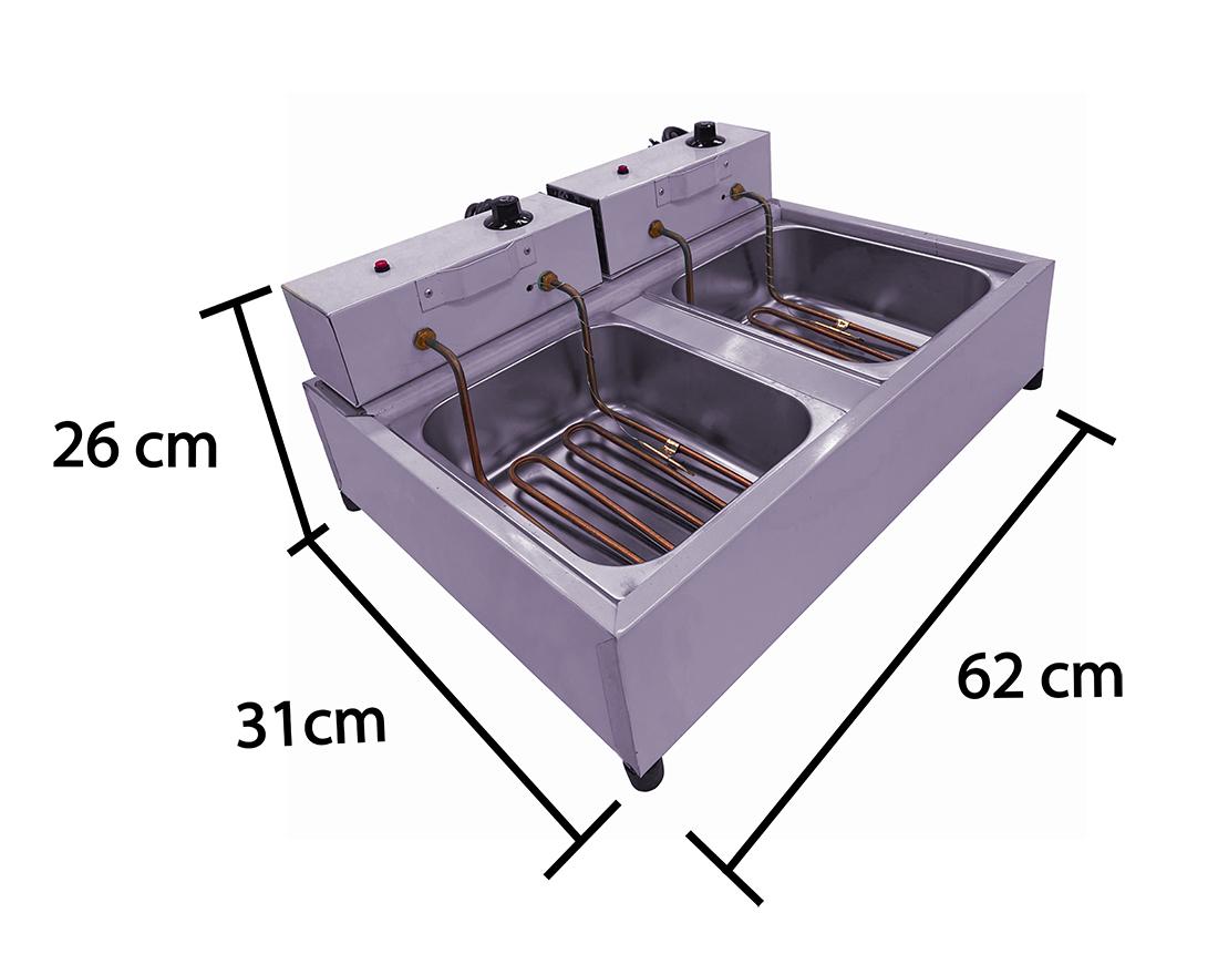 Fritadeira Inox 5 Litros 2 Cuba   - EKENOX- Equipamentos Industriais