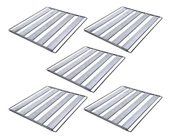 Kit 5 Assadeiras Para Pão Frances 5 Tiras 58x70 Em Aluminio Ekenox  - EKENOX- Equipamentos Industriais