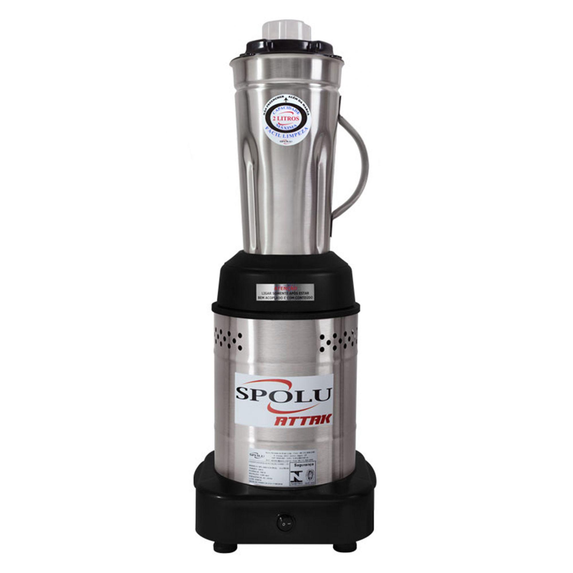 Liquidificador Industrial Attak 2 Litros Baixa Rotação Inox