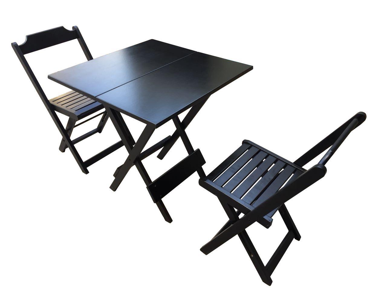 Mesa de Madeira Jogo com 2 Cadeiras Dobrável