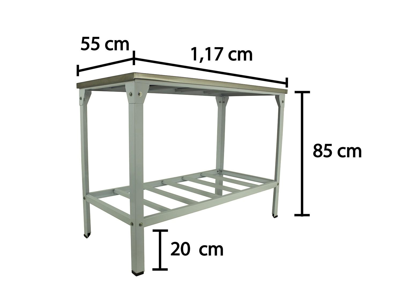 Mesa Inox Especiale 1,17 X 55 C/ Prateleira   - EKENOX- Equipamentos Industriais