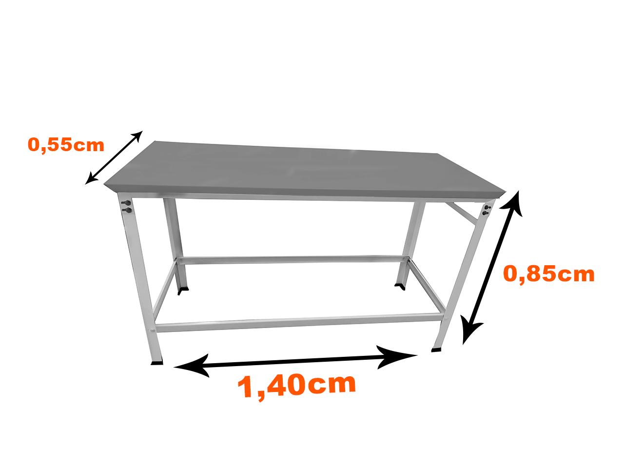 Mesa Inox Pé Branco 1,40 x 0,55 Vix