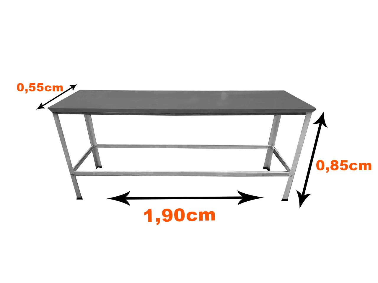 Mesa Inox Pé Branco 1,90x55 G EKENOX  - EKENOX- Equipamentos Industriais