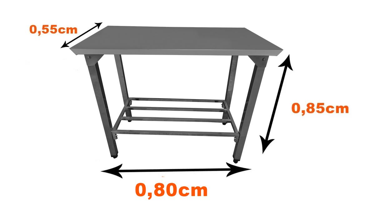Mesa Total Em Aço Inox 0,80x55cm Com Prateleira