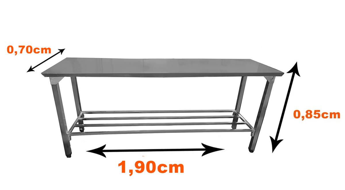 Mesa Total Em Aço Inox 1,90x70 Com Prateleira