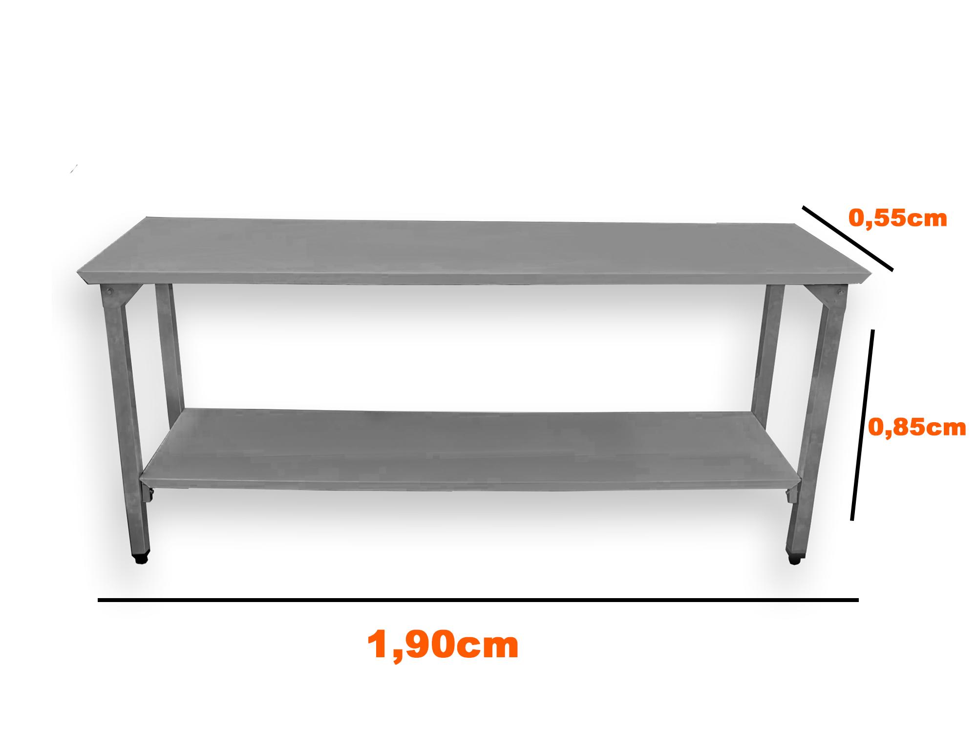 Mesa Total Inox 1,90 x 0,55 C/ Prateleira Lisa VIX