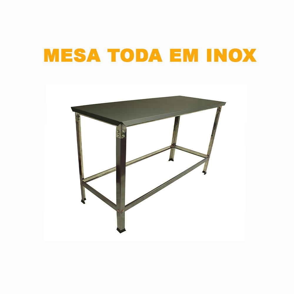Mesa Total Inox 1,90 x 0,55 STD  - EKENOX- Equipamentos Industriais