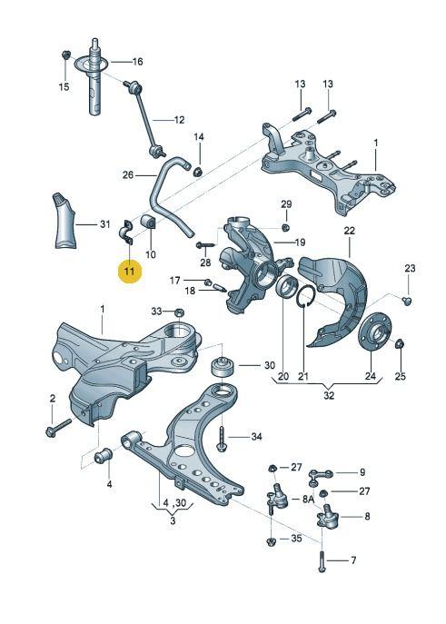 Abraçadeira Esquerda Bucha Barra Estabilizadora Vw Fox Gol Polo