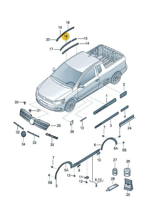 Borracha De Teto Esquerdo Volkswagen Saveiro 2010 Até 2017