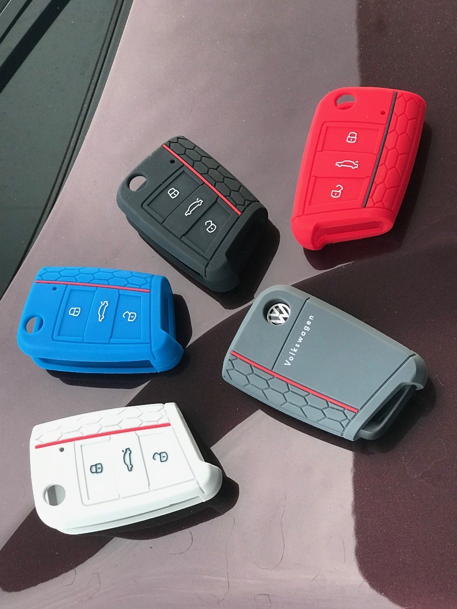 Capa De Silicone Vermelho Para Chave Canivete Vw Polo, Virtus, Golf, Jetta, T-Cross e Tiguan