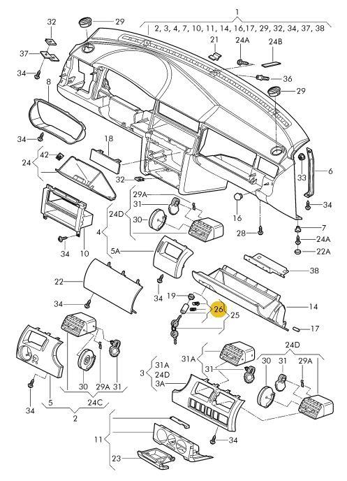 Cilindro Da Chave Porta Objetos Volkswagen Gol Parati e Saveiro