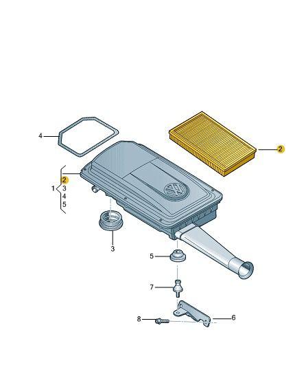 Filtro De Ar Motor 1.0 Vw Gol G4 e Fox 030129620l