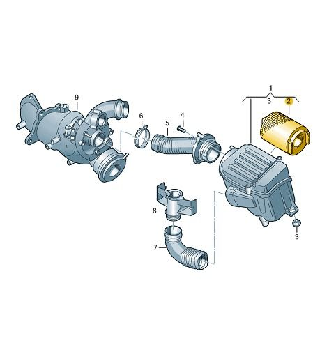 Filtro De Ar Motor Vw Jetta Passat Tiguan Novo Fusca 1F0129620