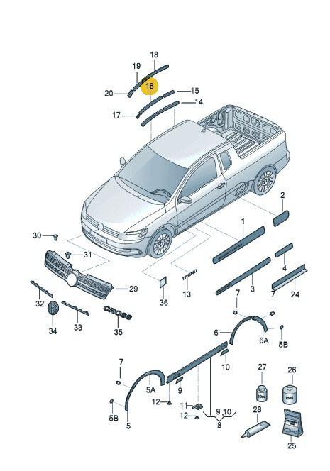 Friso De Teto Lado Direito Volkswagen Saveiro 2010 Até 2017