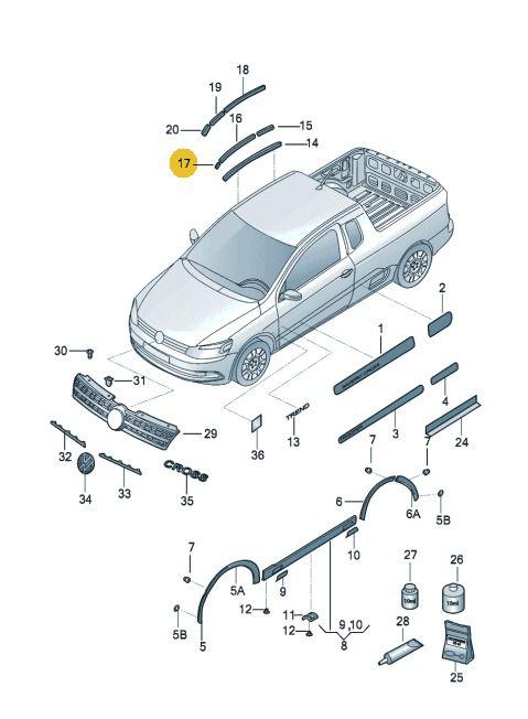 Friso Teto Esquerdo Volkswagen Saveiro 2010 Até 2017