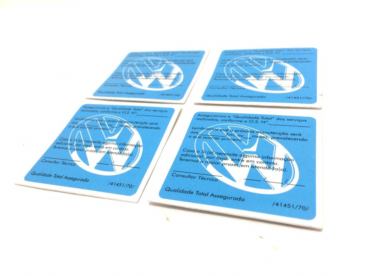 Kit 4 Etiquetas Para Troca De Óleo Volkswagen Colecionadores