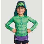 Uvline Camiseta Acqua Hulk ML Infantil Proteção Solar