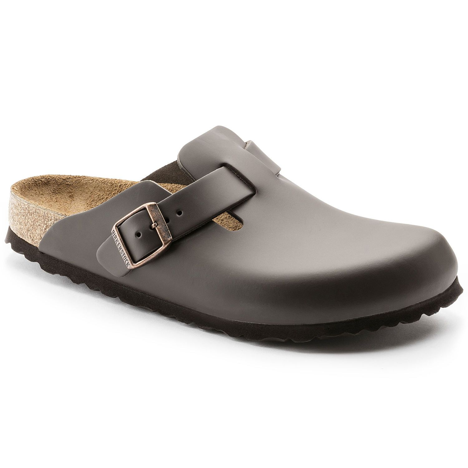 Birkenstock Clog Boston Couro Natural Regular Marrom