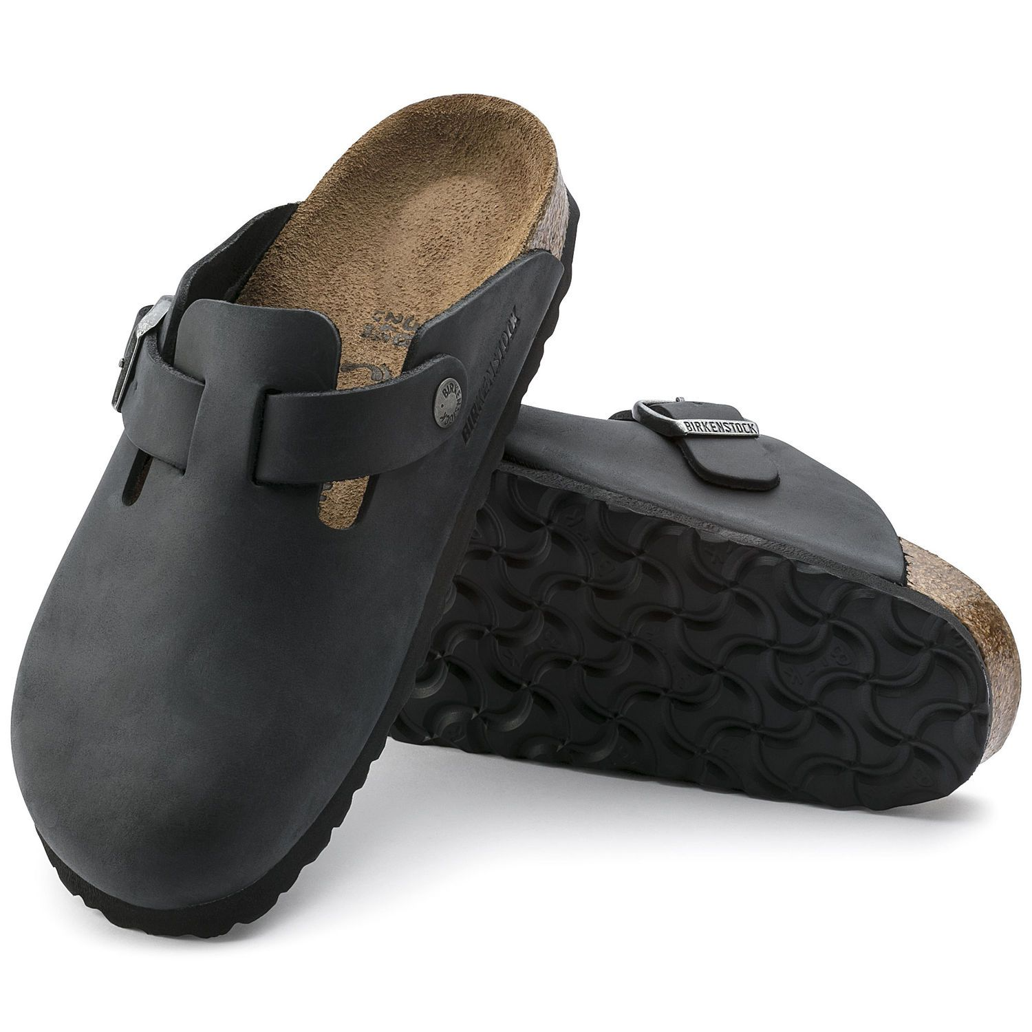 Birkenstock Clog Boston Couro Nobuck Narrow Preto