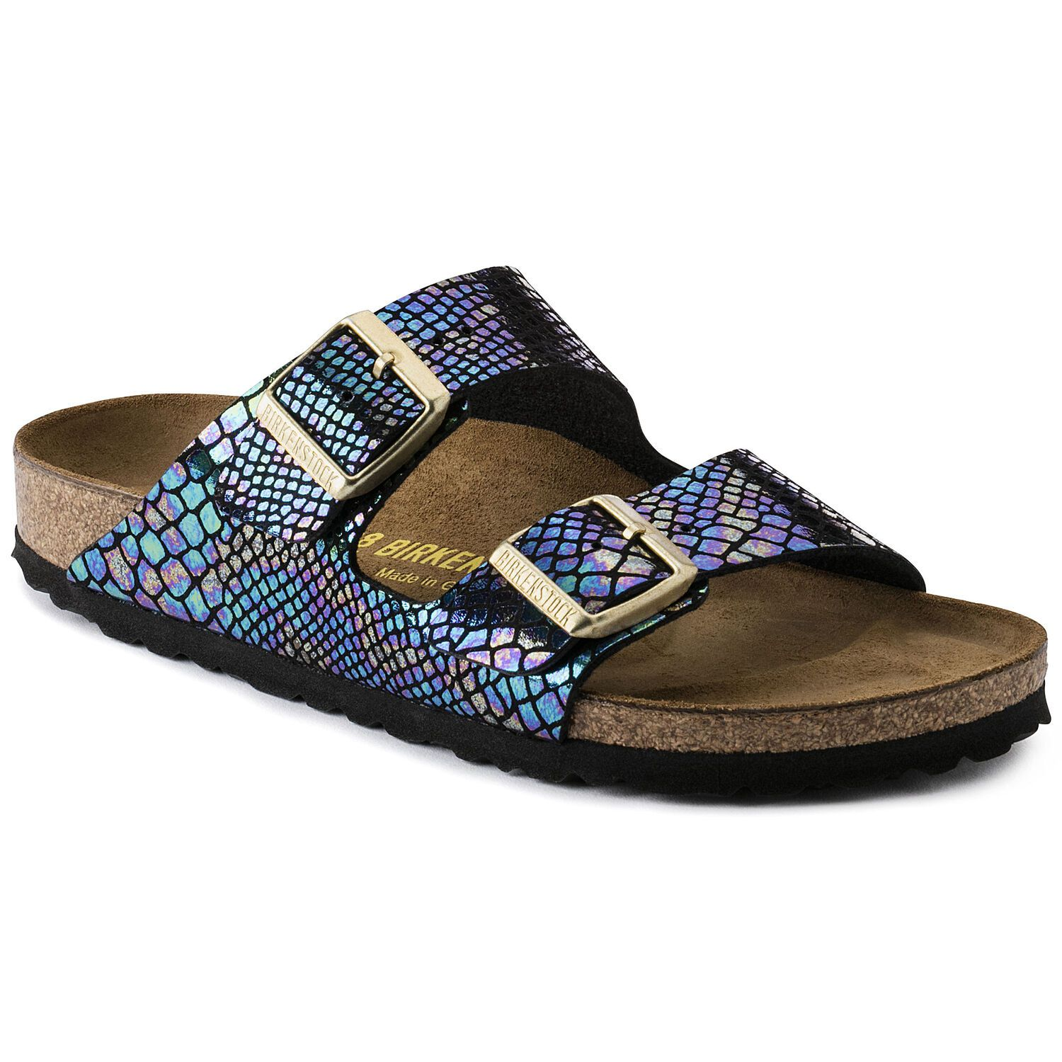 Birkenstock Sandália Arizona BF Shiny Snake Black Multi Narrow EN