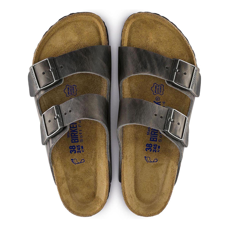 Birkenstock Sandália Arizona Couro Natural Soft Footbed Regular Ferro