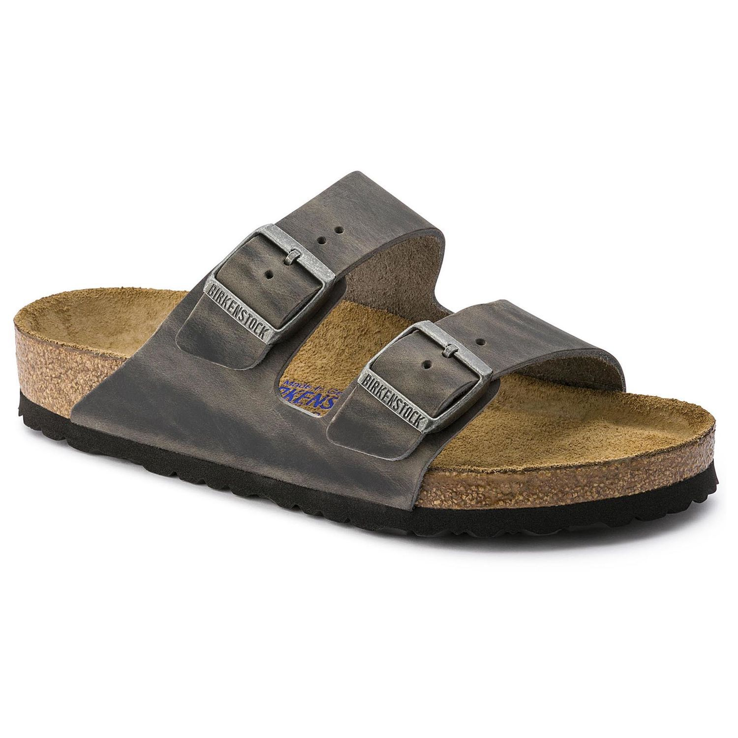 Birkenstock Sandália Arizona Couro Natural Soft Footbed Regular Ferro EN