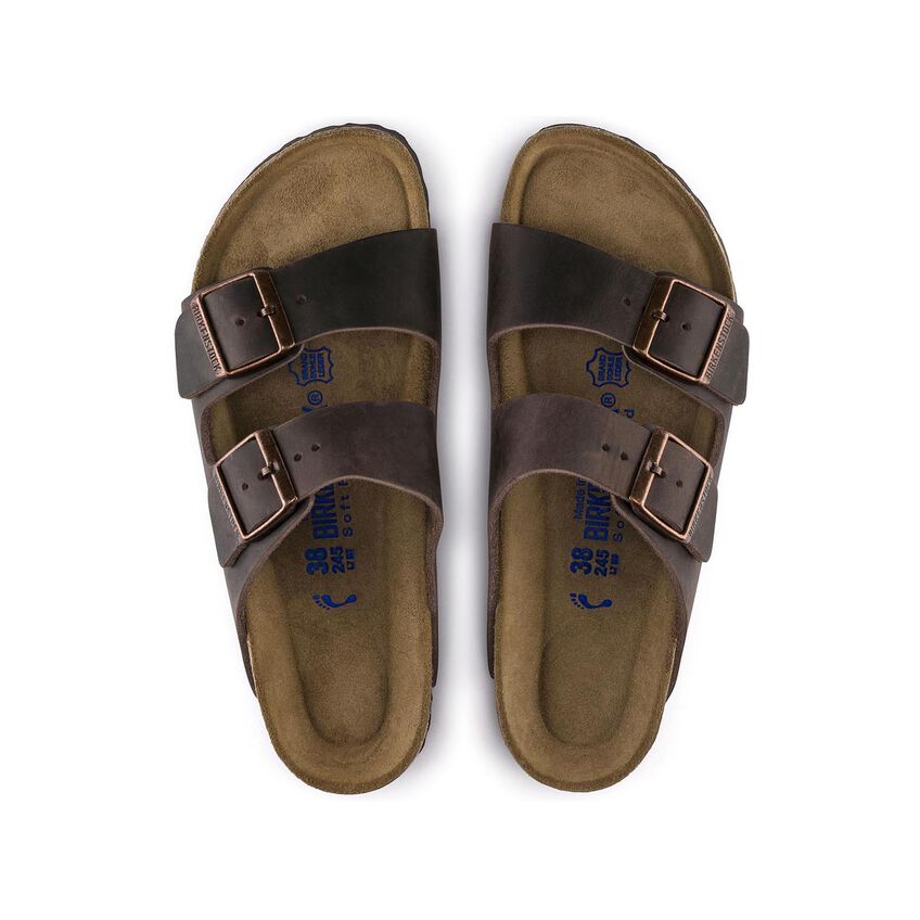 Birkenstock Sandália Arizona Couro Natural Soft Footbed Regular Marrom