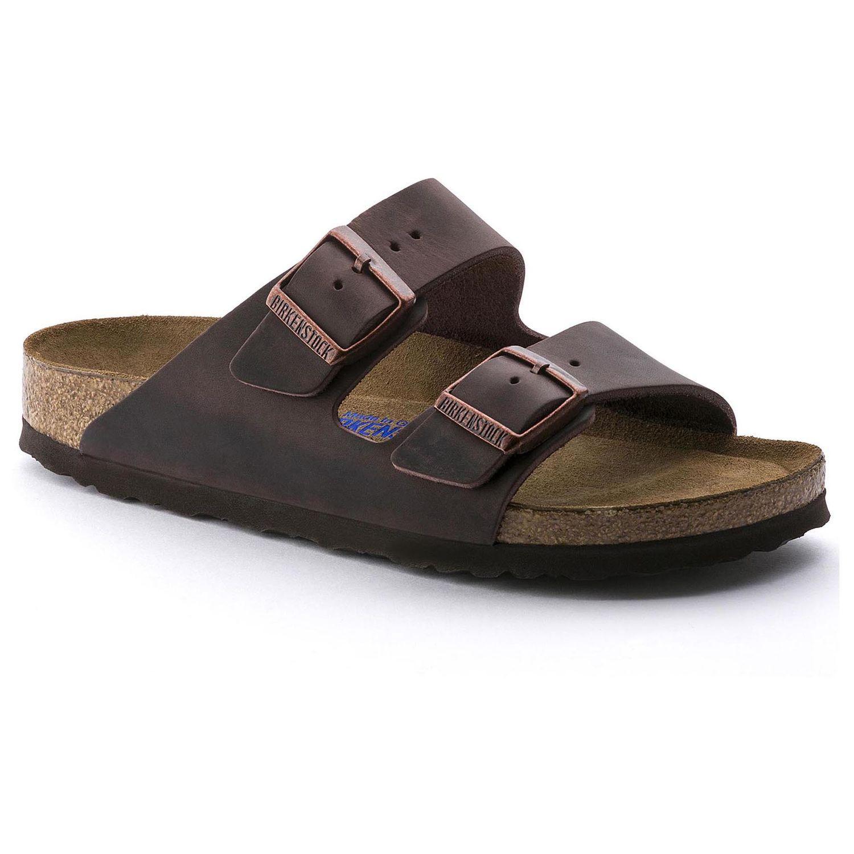 Birkenstock Sandália Arizona Couro Natural Soft Footbed Regular Marrom EN