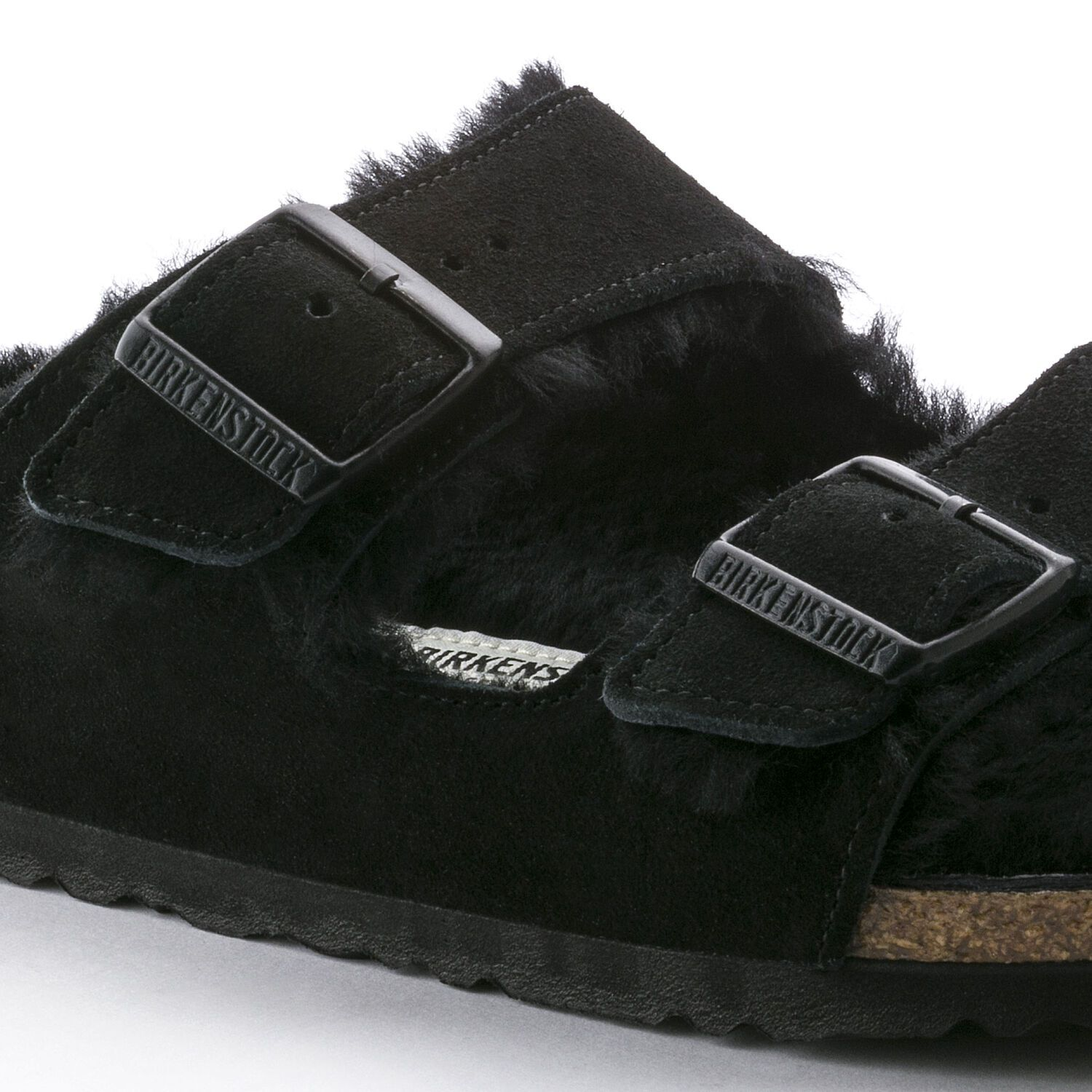 Birkenstock Sandália Arizona Fur Vl Black Narrow