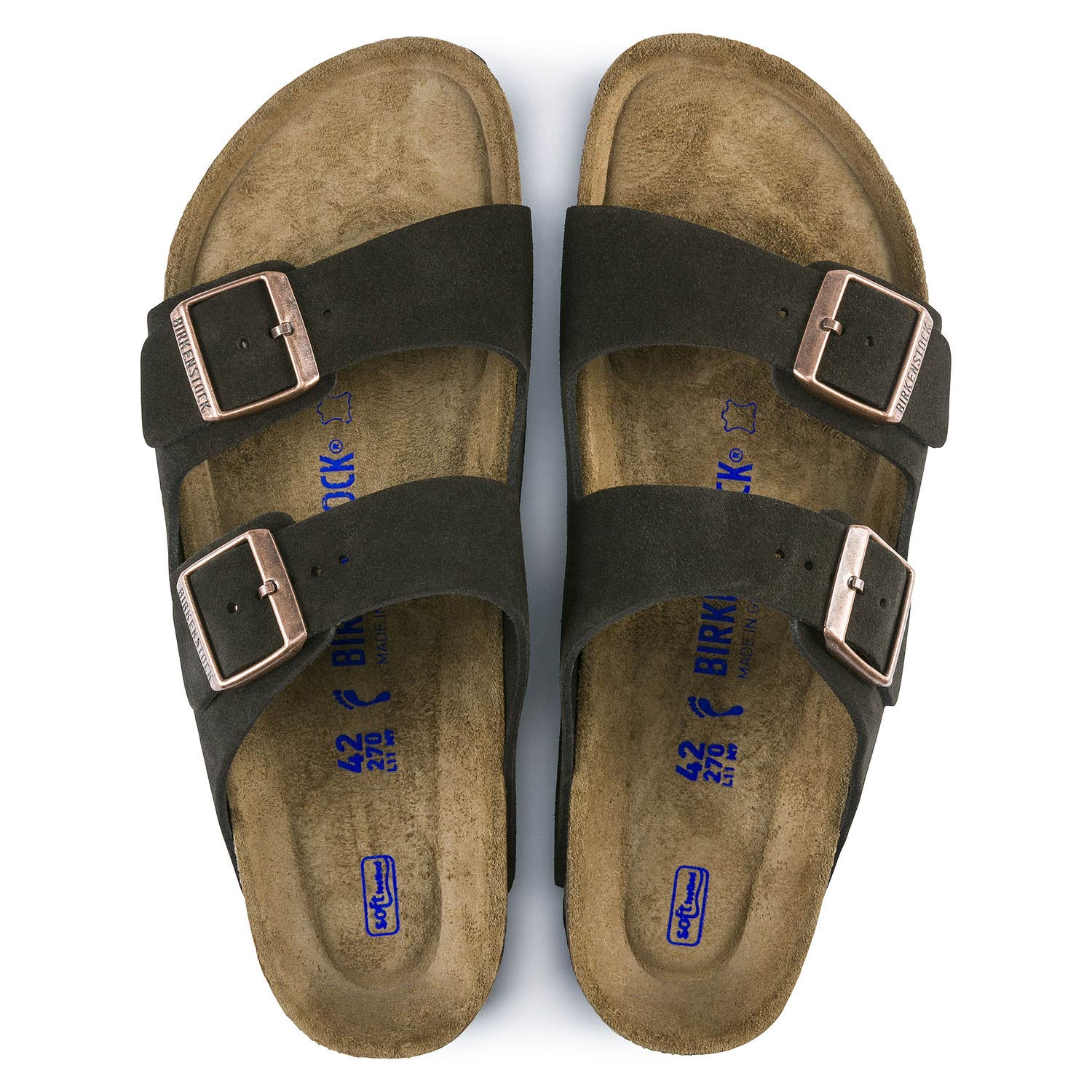 Birkenstock Sandália Arizona Suede Soft Footbed Narrow Marrom
